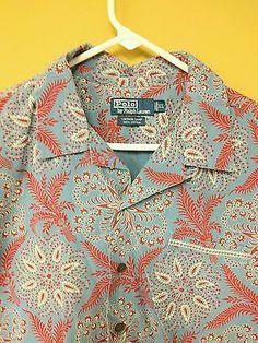 Ralph Lauren Polo Vintage Camp Blue Red Paisley Wheat Fleur De Lis SS Shirt XL