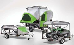 The trailer that totes surfboards, small fourwheelers, and transforms into a spacious pop up camper.