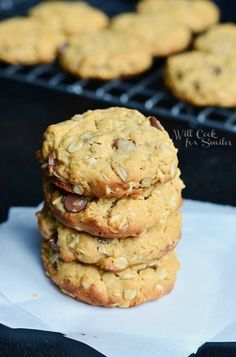 Peanut Butter Oatmeal Cookies with Chocolate Chips 1 from willcookforsmiles.com #cookies #peanutbutter #oatmealcookie