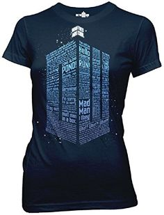 Doctor Who Logo of Words Juniors Navy Blue T-shirt Medium @ niftywarehouse.com #NiftyWarehouse #DoctorWho #DrWho #Whovians #SciFi #ScienceFiction #BBC #Show #TV