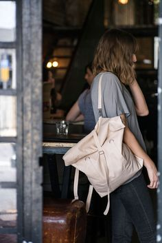 Nude Vegan Leather Rolltop Tote and Backpack Bag, Pink Wanderlust Carry All Vacation or City Bag
