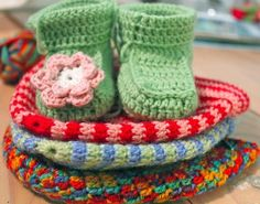 Crochet Baby Booties colorful baby things...
