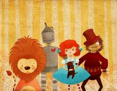 Children's Art Print  The Wizard of Oz  by TheFoxandTheTeacup, $35.00 @Nancy Wold @Nancy Wold  what about this in the play room?