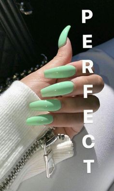 In search for some nail designs and ideas for your nails? Listed here is our list of 10 must-try coffin acrylic nails for stylish women. Aycrlic Nails, Dope Nails, Pink Nails, Mint Green Nails, Best Acrylic Nails, Acrylic Nail Designs, Acrylic Nails Green, Perfect Nails, Gorgeous Nails