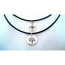 Compass Necklace and Sterling Silver Tree of Life Necklace