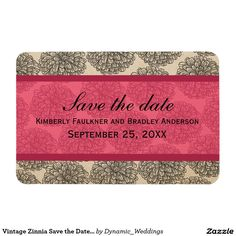 Vintage Zinnia Save the Date Magnet, Pink