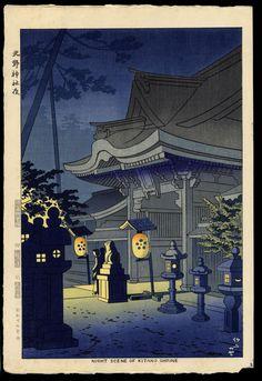 Asano Takeji: Night Scene of Kitano Shrine - 北野神社夜 - Ohmi Gallery