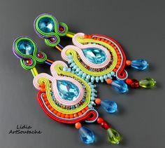 Soutache Earring,Long Turquoise Orange Dangle Earrings, Long Dangle Soutache Earrings, Turquoise Earrings, Dangling Embroidered Earrings, de LidiaArtSoutache en Etsy