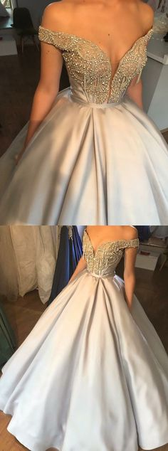 elegant grey satin ball gown prom dress with beading, fashion off the shoulder ball gown evening dress with beading