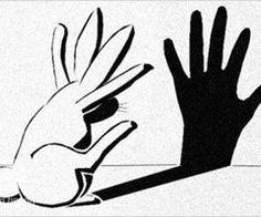 A rabbit making a shadow puppet hand HAHa