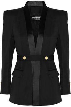 Balmain|Belted satin-trimmed wool tuxedo jacket|NET-A-PORTER.COM