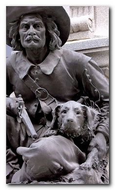 Paul de Chomeday de Maisonneuve and his dog. His dog supposedly saved him from an Iroquois attack in 1642. Statue in Old Montreal