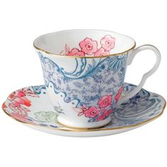 Wedgwood Butterfly Bloom Spring Blossom Cup & Saucer (73 CAD) ❤ liked on Polyvore featuring home, kitchen & dining, drinkware, items, backgrounds, butterflies, kitchen, tea, wedgwood and tea cups and saucers
