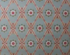 1930's Vintage Wallpaper PInk Green Geometric by HannahsTreasures, $14.00