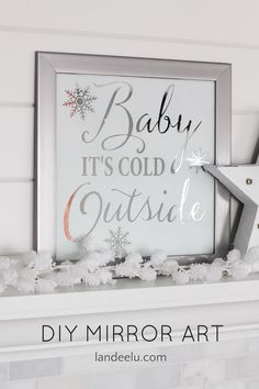 I Love this knock off DIY Pottery Barn Mirror Wall Art - so pretty and needs to be in my winter home decor.