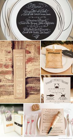 I've been noticing a lot of brides wanting to complete their wedding themes with unique menu designs. Whether it be putting together a certain look for a table setting, or having it on display for their guests, menus are another great way to set the scene. It's all in the details!
