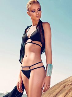 Black Triangle Top with Strappy Bottom Bikini // love the structured detail and straps #wearabledesign