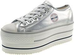 Maxstar Women's CN9 6 Holes Double Platform TC Low Top Sneakers Silver 6 B(M) US