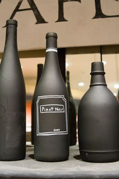 chalkboard painted wine bottles #chalkboardpaint #chalkboard    kitchen decor