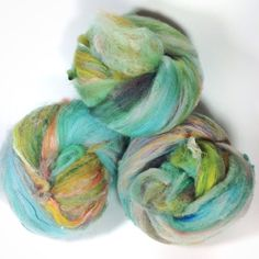 4.2 oz 120 grams super textured funky art batt nuggets merino locks flax sparkles