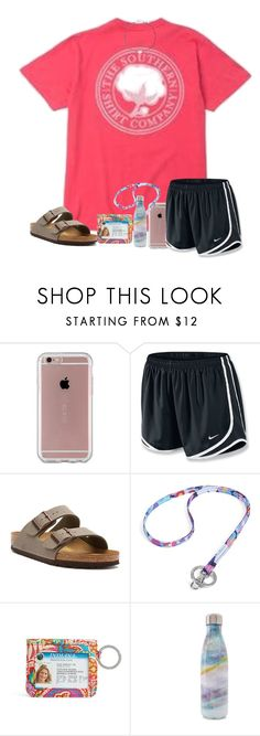 """""""love waking up to you"""" by arieannahicks ❤ liked on Polyvore featuring Fraternity, Speck, NIKE, Birkenstock, Vera Bradley, S'well and Majorica"""