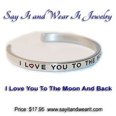 I love You To The Moon and Back Bracelet. Please shop our store for other great bracelets  #customengraved #bracelet #gift #love #jewelry #engraved #family #mothers #shopping #handmade #sayitandwearit #special #ebay #amazon #etsy #iloveyoutothemoonandback #special #girlfriend #moonandback #shop