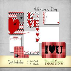 Project Life Inspired Valentine Scrapbooking Kit by MichelleJamesDigital on Etsy