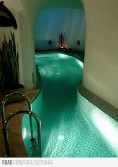 A lazy river inside a house?!?!? I would use this as a hallway and Go around my house in a inner tube! Hahaha