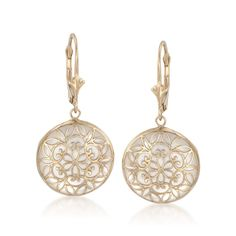 Ross-Simons - Mother-Of-Pearl Overlay Earrings in 14kt Yellow Gold - #616431