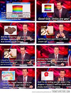 Colbert on Rainbow Oreos… I love freaking Colbert!!!!!