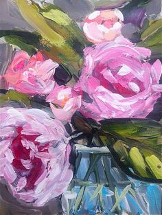 Abstract Roses Peonies Painting pink aqua by Marendevineart