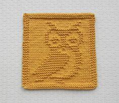 Knit Dishcloth OWL  Hand Knitted Unique Design by AuntSusansCloset, $6.50