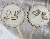Set of 12 Love Bird Cupcake / Food Picks - Wedding - Wedding Shower