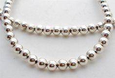"4.5mm Sterling Silver Bead 19 Gram Necklace 23"" Long 925 Vintage   eBay"