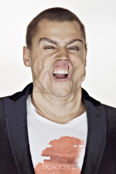 "Photos of people being hit by huge gusts of air. ""Blow Job"" by Tadao Cern, via Behance"