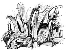Image of 'Abstract drawing black ink with unusual spiral structure'
