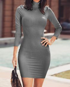 Solid High Neck Long Sleeve Bodycon Dress trendiest dresses for any occasions, special event dresses, accessories and women clothing. Bodycon Midi Skirt, Red Bodycon Dress, Bodycon Dress With Sleeves, Event Dresses, Buy Dress, Pattern Fashion, Ideias Fashion, Fashion Outfits, Style Fashion