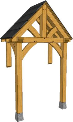 2 POST PORCHES — TIMBER FRAME PORCHES Front Door Awning, House Front Porch, Front Porch Design, Porch Roof, Front Deck, Door Overhang, Front Doors, Patio Deck Designs, Carport Designs