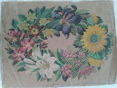A Beautiful Berlin WoolWork Floral Garland Pattern Produced By LW Wittich In Berlin