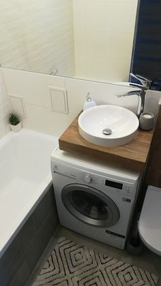 Laundry Room Design, Laundry In Bathroom, Modern Bathroom Design, Bathroom Interior Design, Small Bathroom, Small Condo Kitchen, Small Toilet Room, Home Wine Cellars, Condo Design