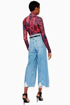 Mid Blue Ripped Hem Crop Jeans - Topshop Thailand Crop Jeans aa05d2d27f50e