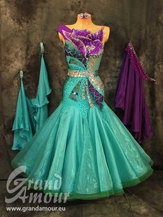 purple and teal jade bodice design modern ballroom dress