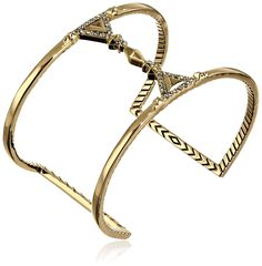 """House of Harlow 1960 Gold Tres Tri Cut Out Cuff Bracelet, 2.5"""". Made in China."""