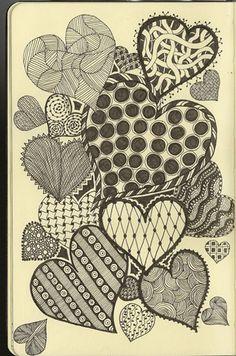 pretty hearts doodle