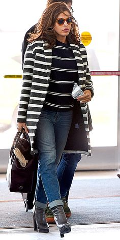Who says print mixing has to be tricky? Stick to stripes in the same color palette (as Eva did in her Maje jacket and ...