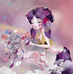"""Anna Ziliz, """"La petite faiseuse de mondes"""".  I love that sweet little deer. <3"""