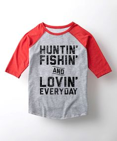 Love this Athletic Heather & Red 'Huntin', Fishin' & Lovin'' Raglan Tee - Kids by Country Casuals on #zulily! #zulilyfinds