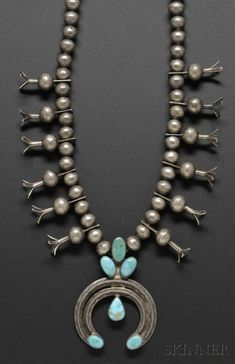 Southwest Silver and Turquoise Squash Blossom Necklace