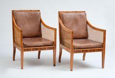 KAARE KLINT FOR RUD. RASMUSSEN, DENMARK, PAIR OF CANE BERGÈRES, MODEL 4488 - Price Estimate: $2000 - $4000