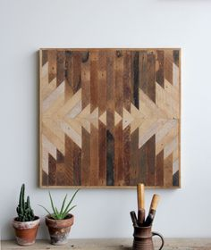 different stained wood art